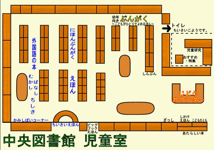 中央図書館児童室の案内図