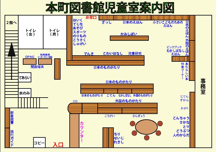 本町図書館児童室 の案内図
