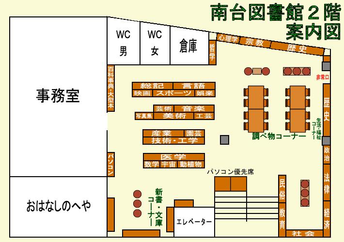 南台図書館2階の案内図
