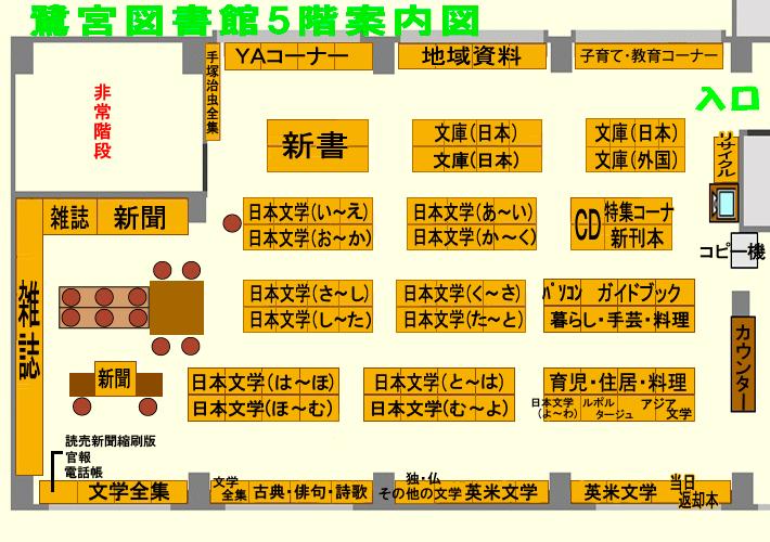 鷺宮図書館5階の案内図