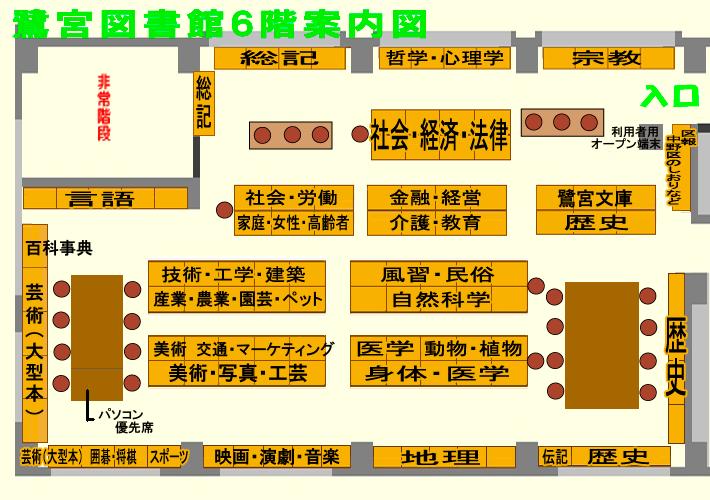 鷺宮図書館6階の案内図
